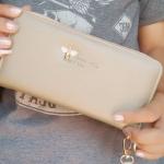 กระเป๋าสตางค์ใบยาวซิปรอบสีทอง Life simple and happy