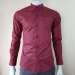 เสื้อเชิ้ตคอจีน สีแดงดำ