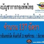 กองบัญชาการกองทัพไทยเปิดสอบรวม 137 อัตรา