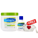 cetaphil moisturizing cream 453g + cetaphil skin cleanser 59ml รับฟรีทันที Cetaphil กระเป๋าเครื่องสำอาง 1 ใบ