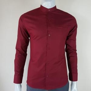 เสื้อเชิ้ตผู้ชายคอจีน สีแดง