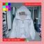 เสื้อคลุม แขนยาวผ้าร่ม มีฮูด ซิปหน้า สีขาว thumbnail 4