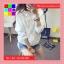 เสื้อคลุม แขนยาวผ้าร่ม มีฮูด ซิปหน้า สีขาว thumbnail 2