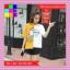 เสื้อแฟชั่น คอกลม แขนสั้น ลายเก๋ๆ นกอินทรีย์ ทูโทน เหลือง-ขาว thumbnail 3