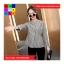 เสื้อแฟชั่น แขนยาว คอกลม สม๊อคเอว ลายทาง สีดำ thumbnail 3