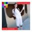 ชุด 2 ชิ้น เสื้อแฟชั่น คอปีน แขนจั๊ม + กางเกง3 ส่วน สีขาว thumbnail 1