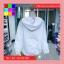 เสื้อคลุม แขนยาวผ้าร่ม มีฮูด ซิปหน้า สีขาว thumbnail 5