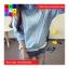 เสื้อคลุม แขนยาวผ้าร่ม มีฮูด ซิปหน้า สีฟ้า thumbnail 2