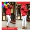 เสื้อคลุม ผ้าฝ้าย บุกันหนาว มีฮูด แขนยาว ลายหนวด สีแดง thumbnail 4