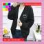 เสื้อคลุมแฟชั่น มีฮูด แขนยาว ผ้าร่ม ลาย Smile สีดำ thumbnail 2