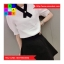 ชุด 2 ชิ้น เสื้อแฟชั่น แขนตุ๊กตา ซิปหลัง แต่งโบว์ สีขาว + กระโปรงสั้น สีดำ thumbnail 5