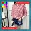 เสื้อแฟชั่น คอวี ปกเชิ๊ต แขน4ส่วน ชายเย็บเก๋ๆ ลายสก๊อต สีแดง thumbnail 4