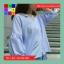 เสื้อแฟชั่น คอวี แขนตุ๊กตา แต่งโบว์หลัง ลายทาง สีฟ้า thumbnail 1
