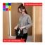 เสื้อแฟชั่น แขนยาว คอกลม สม๊อคเอว ลายทาง สีดำ thumbnail 2