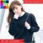 เสื้อกันหนาวแฟชั่น คอปีน แแขนยาว แต่งผ้าต่อ สีดำ thumbnail 4