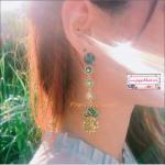 ต่างหูระย้าดีไซน์สับปะรดคริสตัล แฟชั่นสไตล์เกาหลี Pineapple Earrings Fashion Tropical Fruit Drop Earring