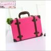 """กระเป๋าสะพายวินเทจสไตล์เกาหลี สีชมพูเข้มคาดน้ำตาล ไซส์ 12"""" หรือ 14"""" Rose Pink/Brown Beauty Bag Vintage Korea Style (Pre-order ราคาสินค้าอยู่ด้านใน)"""