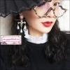 ต่างหูระย้าสไตล์เกาหลีดีเทลไม้กางเขนมุกแ่ฟชั่นสไตล์โลลิต้า Korean Luxury Charm White Cross Dangle Drop Pearl Long Earrings