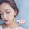 ต่างหูระย้าสไตล์เกาหลีดีไซน์ความยาวไม่เท่ากัน ดีเทลเส้นมุกห้อยไม้กางเขน Asymmetric Luxury Cross Earrings for Women Charm Pearl Rhinestone Long Drop Dangle Earring Korean Fashion