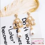 ต่างหูแฟชั่นสไตล์แบรนด์ Vintage Baroque Style Brand Jewelry Pearl Earrings Hyperbole Bridal Accessories