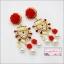 ต่างหูระย้าแฟชั่นสไตล์บาร็อค ดีไซน์แนวงานแบรนด์ Baroque luxury Pearl red bridal red flower Bold Fashion Earring