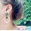 ต่างหูแฟชั่นสไตล์เกาหลี Vintage Green Crystal Drop Earring Hollow Out Lover Heart Pearl Silver Korean Style