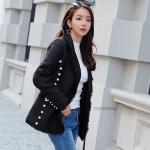 เสื้อคลุมไหมพรมแฟชั่น Korea Tweed Pearl Blazer สีดำ