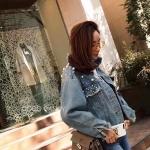 เสื้อแจ็คเก็ตยีนส์แฟชั่น Korea Peal Embroidery Washed Denim Jacket