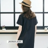 👗V-neck Short-sleeved maxidress_Black
