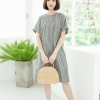 Kiara Dress (Cotton Linen Fabric)_Gray Stripe
