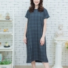 Short-sleeved maxi dress - Scott fabric_Dark Gray