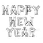 ลูกโป่งฟอยล์ HAPPY NEW YEAR [ยกเซต] ขนาด 16 นิ้ว - สีเงิน