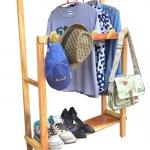 ราวแขวนผ้า ราวตากผ้า อุปกรณ์จัดเก็บ มาพร้อมชั้นวางรองเท้า และที่ห้อยหมวก กระเป๋า