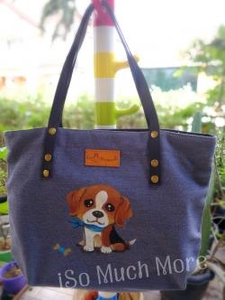 กระเป๋าโท้ทเพ้นท์ลายน้องหมา i005