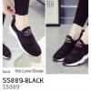 รองเท้าผ้าใบแฟชั่น ผ้าทอ สไตล์ Running Sport(55889-BLACK ดำ)