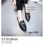 รองเท้าคัชชูปลายแหลม ส้นเตี้ย(17-5138-ดำ ดำ)
