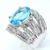 แหวนพลอยผู้หญิงเงินแท้ 92.5 เปอร์เซ็น ฝังด้วยพลอยสวิสบลูโทปาซแท้