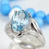 แหวนพลอยผู้หญิงเงินแท้ 92.5 เปอร์เซ็น ฝังด้วยพลอยสกายบลูโทปาซแท้