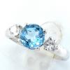 แหวนพลอยผู้หญิงเงินแท้ 92.5 เปอร์เซ็น ฝังด้วยพลอยลอนสวิสบลูโทปาซแท้