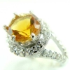 แหวนพลอยผู้หญิงเงินแท้ 92.5 เปอร์เซ็น ฝังด้วยพลอยซิทรินแท้
