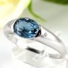 แหวนพลอยผู้หญิงเงินแท้ 92.5 เปอร์เซ็น ฝังด้วยพลอยลอนดอนบลูโทปาซแท้