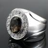 แหวนพลอยผู้ชายเงินแท้ 92.5 เปอร์เซ็น ฝังด้วยพลอยสโมกกี้ควอทซ์แท้