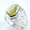แหวนพลอยผู้ชายเงินแท้ 92.5 เปอร์เซ็น ฝังด้วยพลอยเยลโล่วควอทซ์แท้