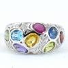 แหวนพลอยผู้หญิงเงินแท้ 92.5 เปอร์เซ็น ฝังด้วยพลอยแท้คละสี