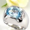 แหวนพลอยผู้ชายเงินแท้ 92.5 เปอร์เซ็น ฝังด้วยพลอยสกายบลูโทปาซแท้