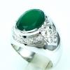 แหวนพลอยผู้ชายเงินแท้ 92.5 เปอร์เซ็น ฝังด้วยพลอยกรีนอะเกทแท้