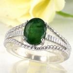 แหวนพลอยผู้หญิงเงินแท้ 92.5 เปอร์เซ็น ฝังด้วยพลอยมรกตแท้