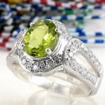 แหวนพลอยผู้หญิงเงินแท้ 92.5 เปอร์เซ็น ฝังด้วยพลอยเพอริดอทแท้