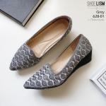 รองเท้าคัชชู ลายคลื่น ดีเทลเล็กๆ หนัง pu 628-01-เทา GREY