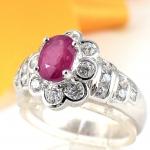 แหวนพลอยผู้หญิงเงินแท้ 92.5 เปอร์เซ็น ฝังด้วยพลอยทับทิมแท้